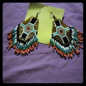 unknown Jewelry - Native American beaded earrings